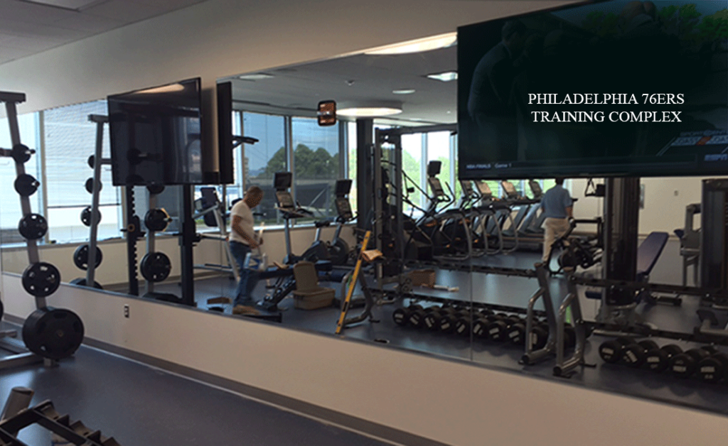 Gym Mirrored Wall | Philadelphia 76ers Training Facility | Camden, NJ